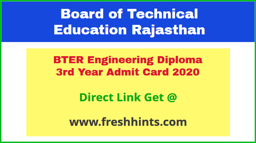Rajasthan Polytechnic Diploma 3rd Year Permission Letter 2020