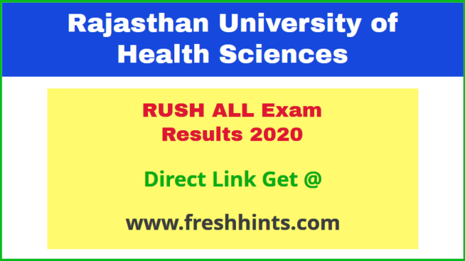 Rajasthan University of Health Sciences Exam Results 2020