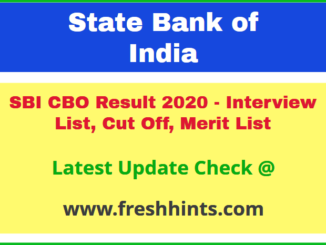 SBI Circle Based Officer Results Selection List 2020