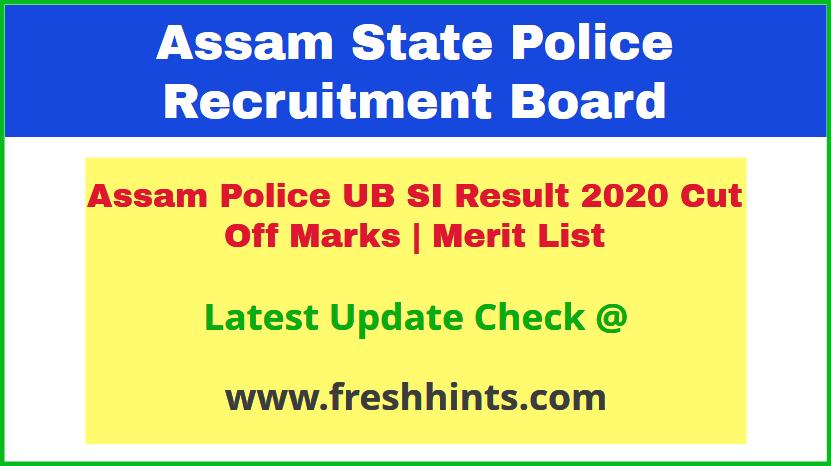 SLPRB Assam Sub Inspector UB Results 2020
