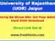 UOR Jaipur University UG Part 3 Permission Letter 2020