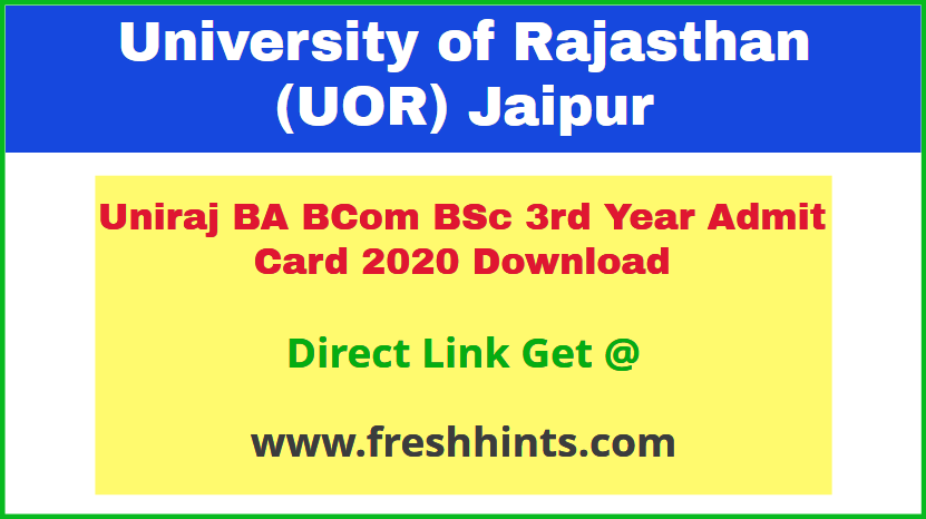 UOR Jaipur University UG Part 3 Permission Letter 2020
