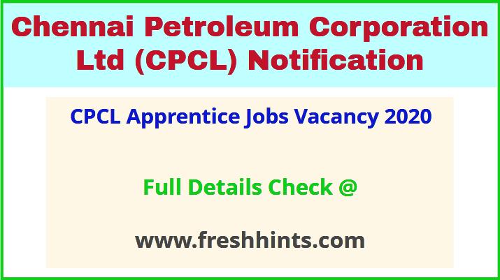 CPCL Apprentice Jobs Vacancy 2020