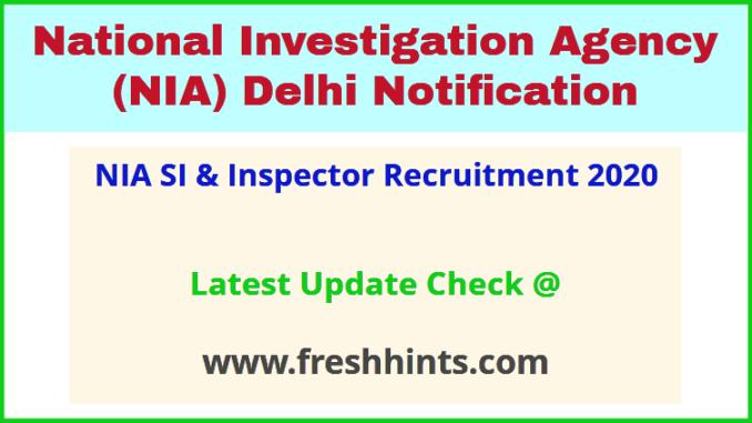 NIA SI & Inspector Recruitment 2020