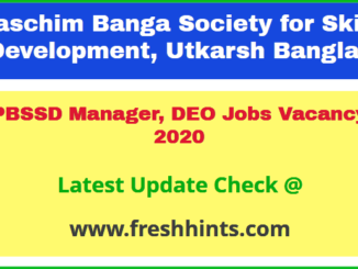 PBSSD Manager, DEO Jobs Vacancy 2020
