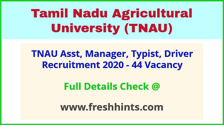 TNAU Asst, Manager, Typist, Driver Recruitment 2020