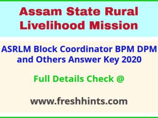 ASRLM Assam BC BPM DPM DFE PA PE Answer Sheet 2020