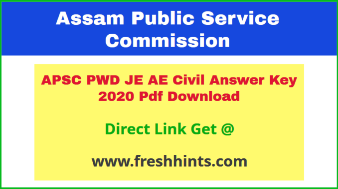 Assam PWD Junior Engineer Assistant Engineer Civil Answer Sheet 2020