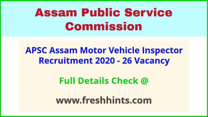 Assam Motor Vehicle Inspector Bharti 2020