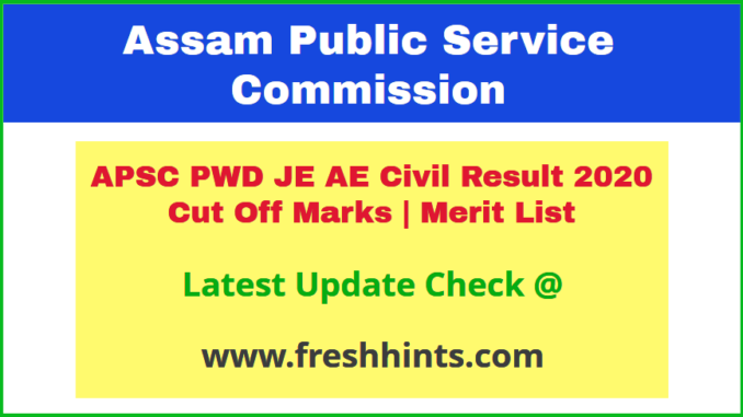 Assam PWD Junior Engineer Assistant Engineer Civil Results 2020