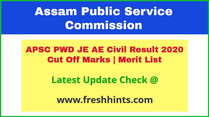 Assam PWD Junior Engineer Assistant Engineer Civil Results 2020