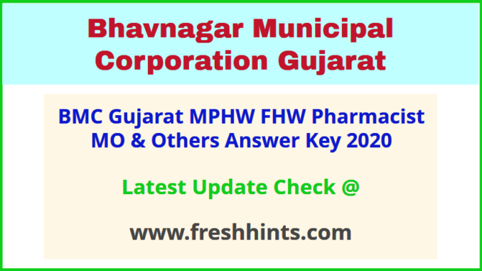 Bhavnagar Mahanagar Palika MPHW FHW Answer Sheet 2020