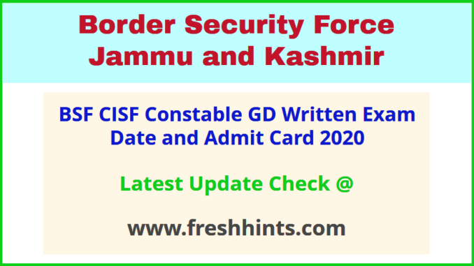 Border Security Force Constable Admit Card 2020