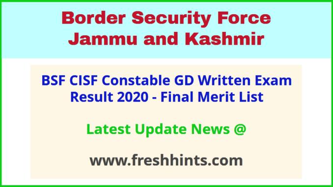 Border Security Force JK GD Selection List 2020