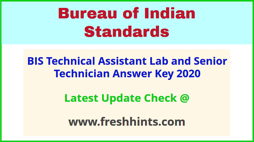 Bureau of Indian Standards TA ST Answer Key 2020