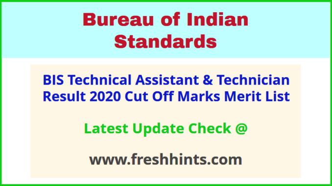 Bureau of Indian Standards TA ST Results 2020