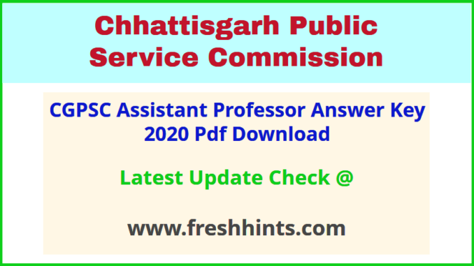 Chhattisgarh Assistant Professor Answer Sheet 2020