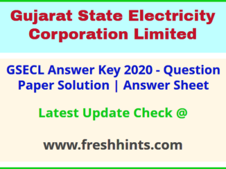 GSECL Answer Sheet 2020
