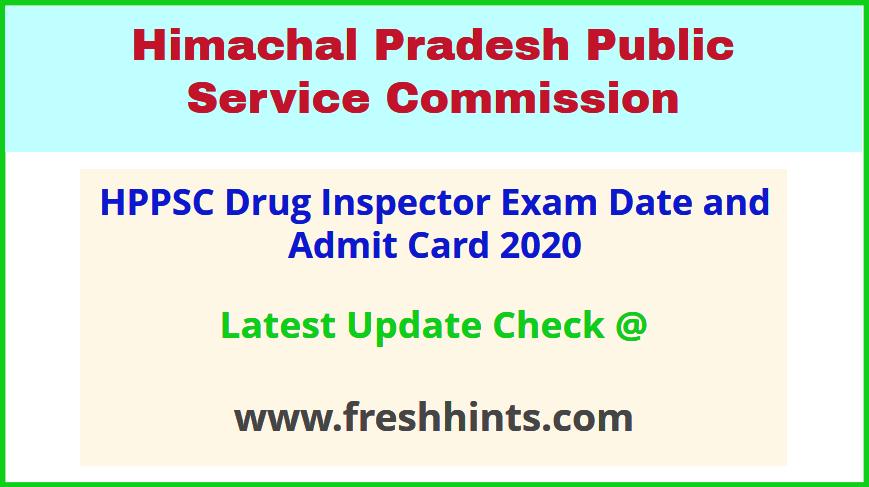 HP Drug Inspector Hall Ticket 2020