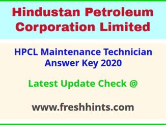 HPCL Visakh Refinery Technician Answer Sheet 2020