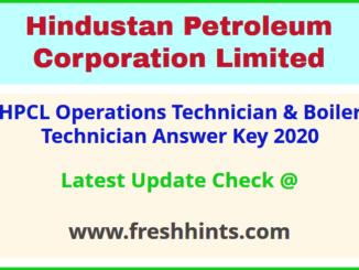 HPCL Visakhapatnam Refinery Boiler Technician Answer Sheet 2020