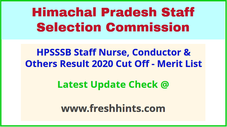 HPSSC Staff Nurse Supervisor Selection List 2020