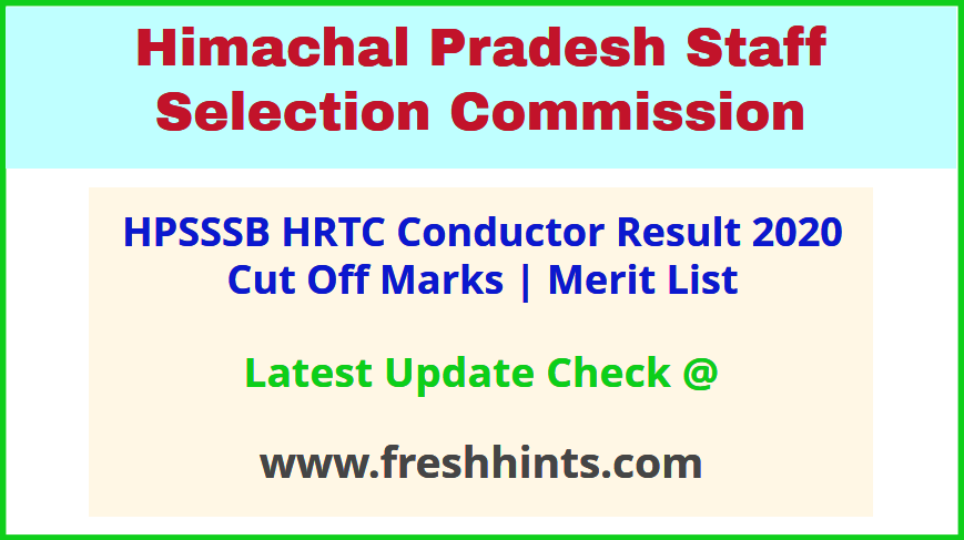 HPSSSB Conductor Results Selection List 2020