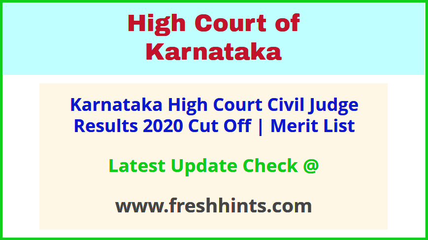 Karnataka HC CJ Selection List 2020