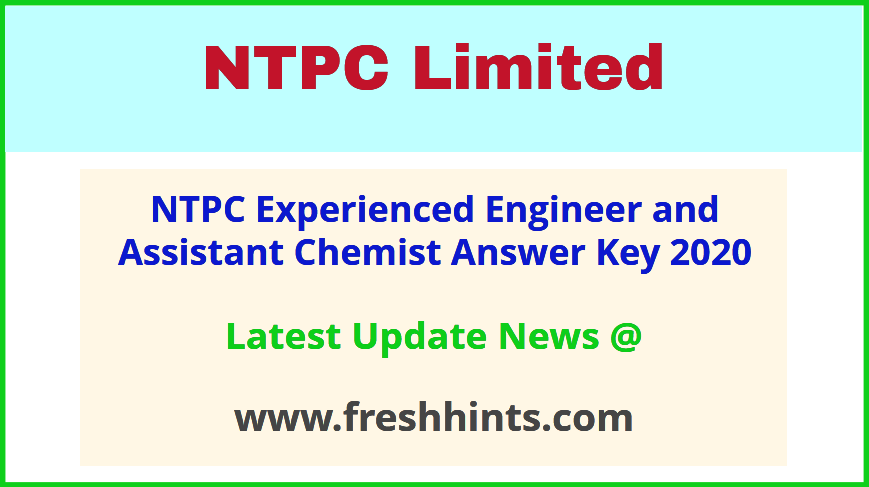 NTPC Limited EE AC Answer Sheet 2020
