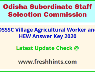 Odisha VAW Horticulture Extension Worker Answer Sheet 2020