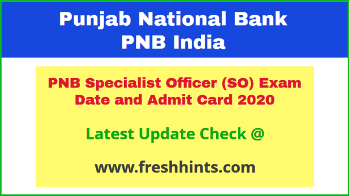 Punjab National Bank Manager Call Letter 2020