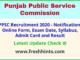 Punjab Public Service Commission Jobs Notification 2020