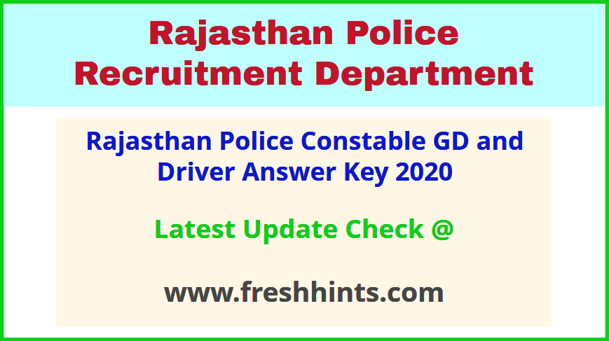 Raj Police Constable Answer Sheet 2020