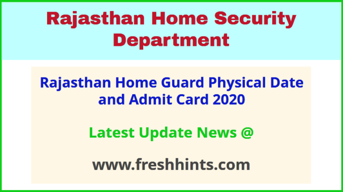 Rajasthan Grah Rakshak Call Letter 2020