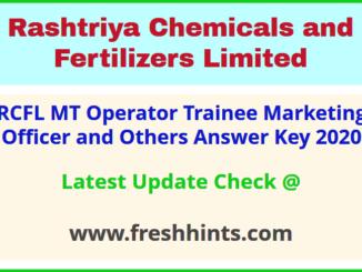 Rashtriya Chemicals and Fertilizers Limited MT Answer Sheet 2020