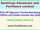 Rashtriya Chemicals and Fertilizers Limited MT Answer Sheet 2020