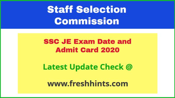 SSC Junior Engineer Call Letter 2020