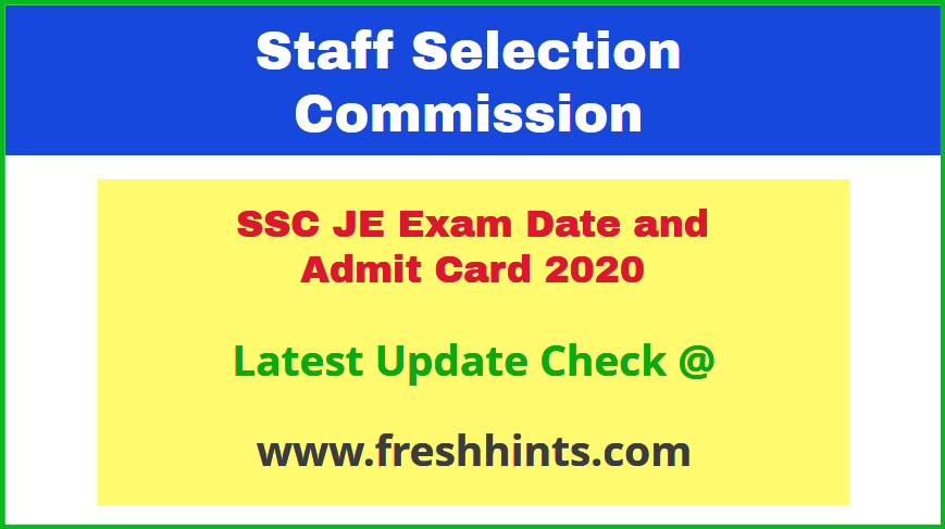 SSC Junior Engineer Call Letter 2020