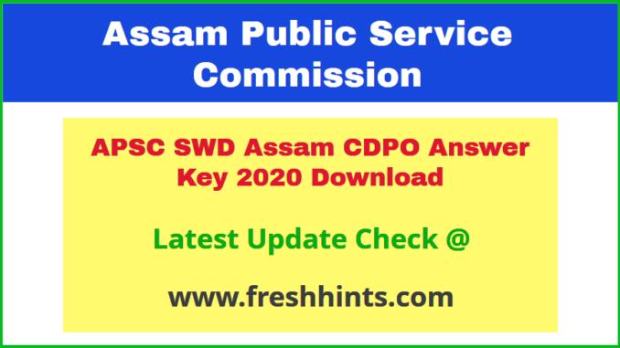 SWD Assam CDPO Answer Sheet 2020