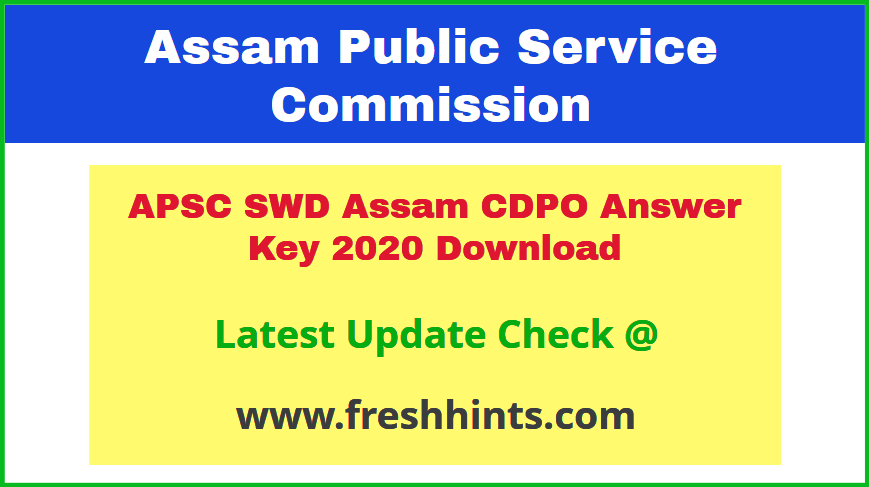 SWD Assam CDPO Answer Sheet 2020