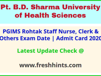 UHSR Staff Nurse Clerk Lab Technician Attendant Hall Ticket 2020