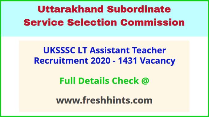 Uttarakhand LT Teacher Bharti 2020