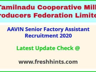 AAVIN Senior Factory Assistant Recruitment 2020
