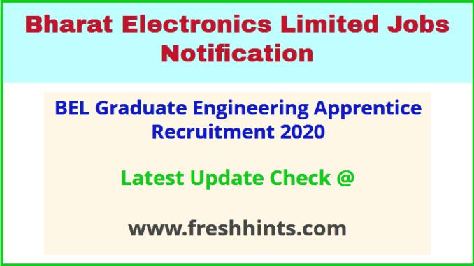 BEL Graduate Engineering Apprentice Recruitment 2020