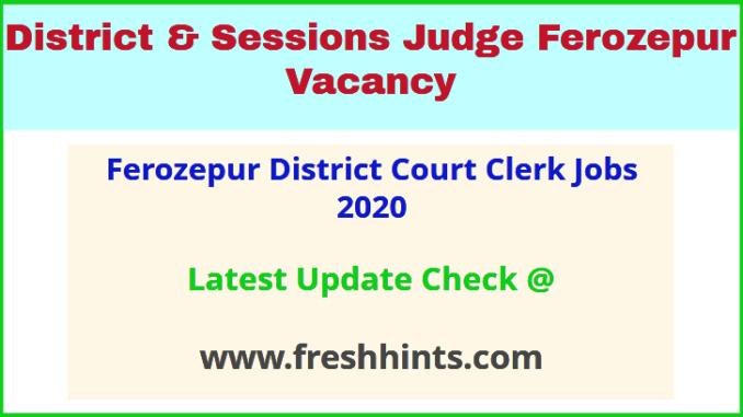 Ferozepur District Court Clerk Jobs 2020