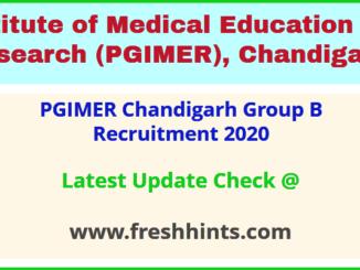 PGIMER Chandigarh Group B Recruitment 2020