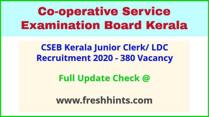 Cooperative Service Examination Board Kerala LDC Bharti 2020