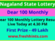 Dear 100 Monthly Lottery Results 2020