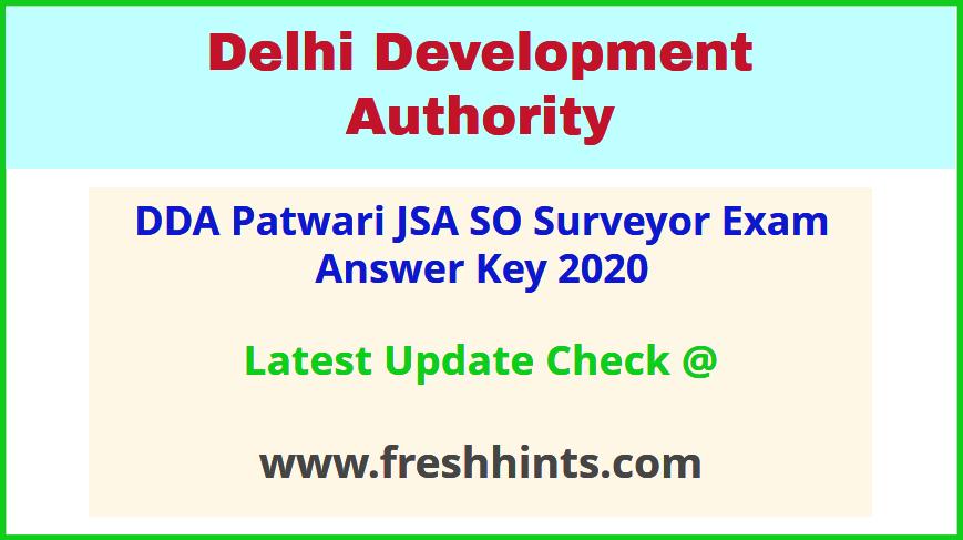 Delhi Development Authority JSA Answer Sheet 2020