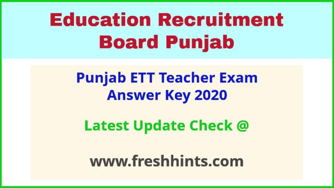 Education Recruitment Board Punjab Teacher Answer Sheet 2020